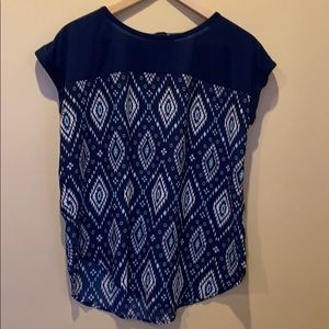 Rewind Blue and White Top with Button Neck Sz M